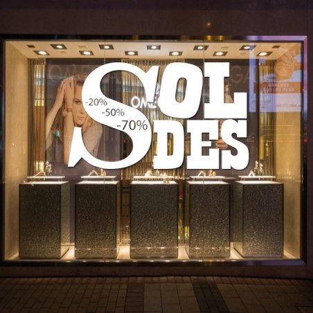 vitrine Lettrage Soldes Design et %