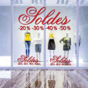 Sticker vitrine Lettrage Soldes + ligne pourcentages
