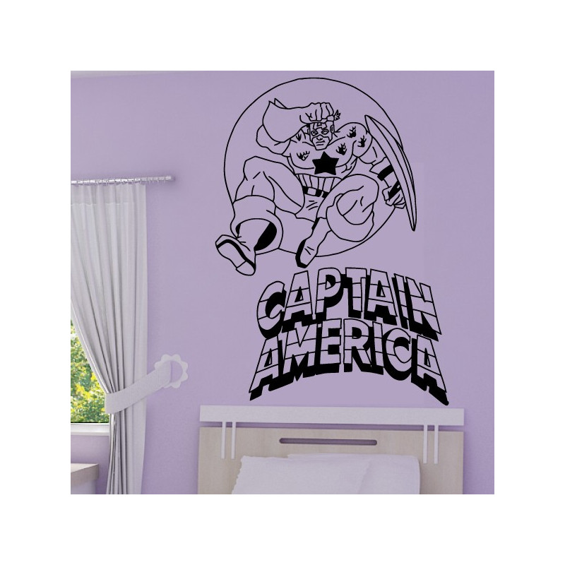 Sticker Captain America + Ecriture