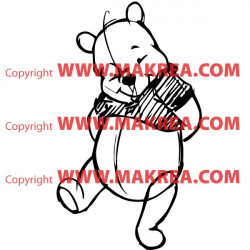 Sticker Winnie l'ourson Esquisse Crayon - Fait le timide