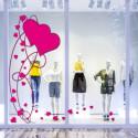 Sticker vitrine Envolée de Coeurs St-Valentin