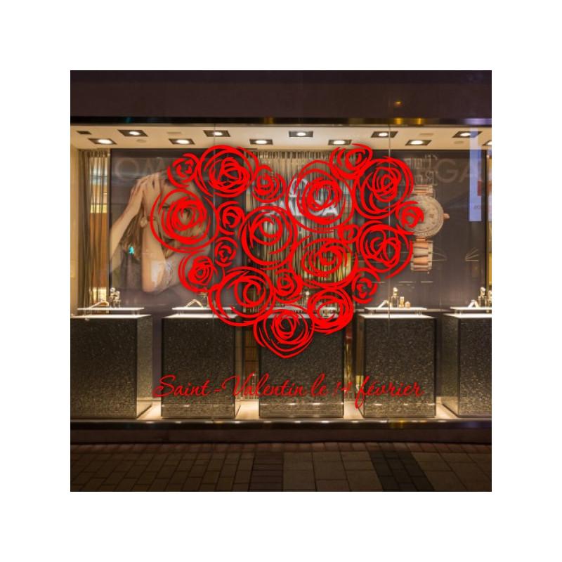 sticker vitrine coeur rose lettrage st valentin 14 f vrier. Black Bedroom Furniture Sets. Home Design Ideas