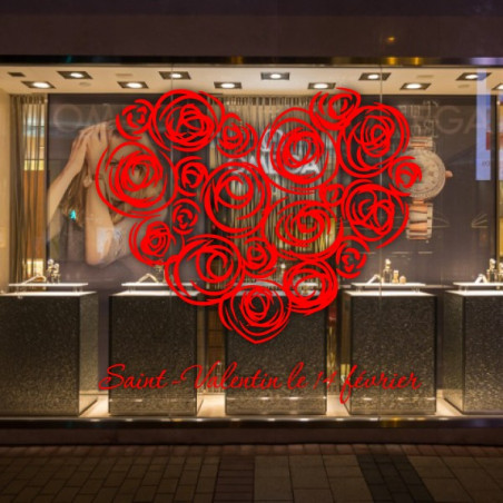 vitrine Coeur Rose - Lettrage St-Valentin 14 février