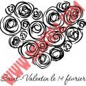 Sticker vitrine Coeur Rose - Lettrage St-Valentin 14 février