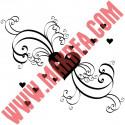 Sticker Vitrine Coeurs et Ornements - Pluie de Coeurs