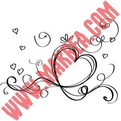 Sticker Vitrine Coeurs Ruban