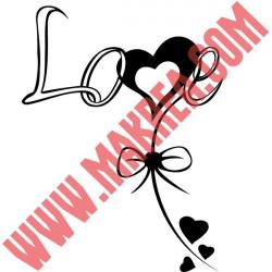 Sticker Love accroché à un Noeud