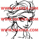 Sticker La Reine des Neiges - Elsa Portrait Esquisse