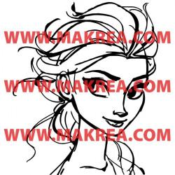 Sticker La Reine des Neiges - Elsa Portrait Esquisse