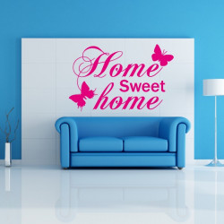 Sticker Citation Home Sweet Home Papillons