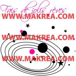 Sticker Fais de jolies rêves Système Solaire Etoiles