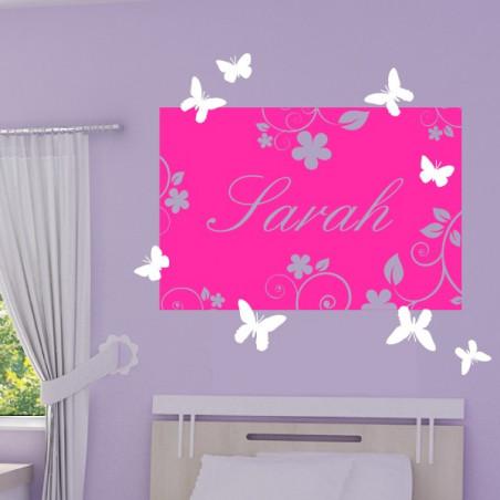Cadre Floral avec prénom + papillons