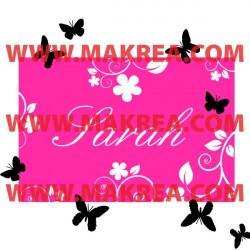 Sticker Cadre Floral avec prénom + papillons