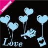Sticker Luminescent Ballons Coeurs Suspendus Messager