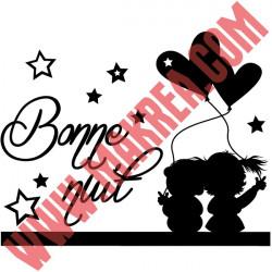 Sticker Bonne Nuit - Enfants Ballons Coeur Etoiles