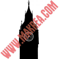 Sticker Géant Londres - Big Ben Silhouette