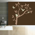 Sticker Nature - Branche d'arbre Ecureuil, Papillon, oiseau
