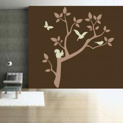 Nature - Branche d'arbre Ecureuil, Papillon, oiseau