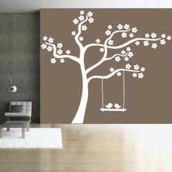 Sticker Nature - Arbre en fleurs Balançoire Oiseaux