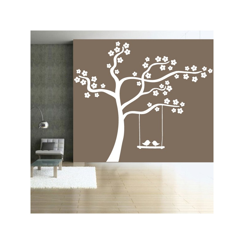 sticker nature arbre en fleurs balan oire oiseaux. Black Bedroom Furniture Sets. Home Design Ideas
