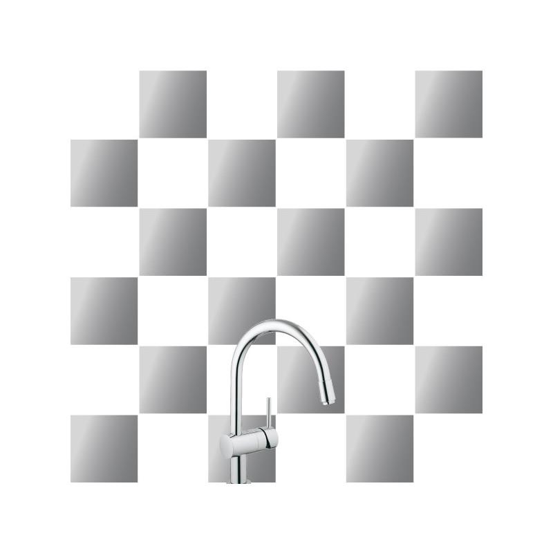 stickers pour carrelage unis gris argente. Black Bedroom Furniture Sets. Home Design Ideas