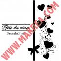 Sticker Vitrine Fête des mères Ruban coeurs