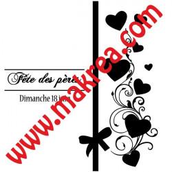 Sticker Vitrine Fête des pères Ruban coeurs