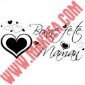 Sticker Vitrine Fête des mères - Bonne fête maman Coeurs