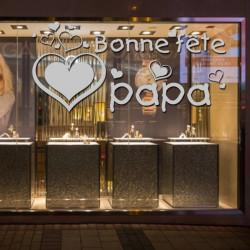 Vitrine Fête des pères - Bonne fête papa Coeurs