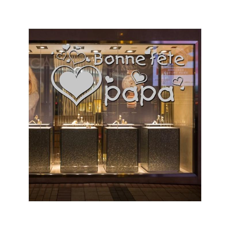 Sticker Vitrine Fête des pères - Bonne fête papa Coeurs