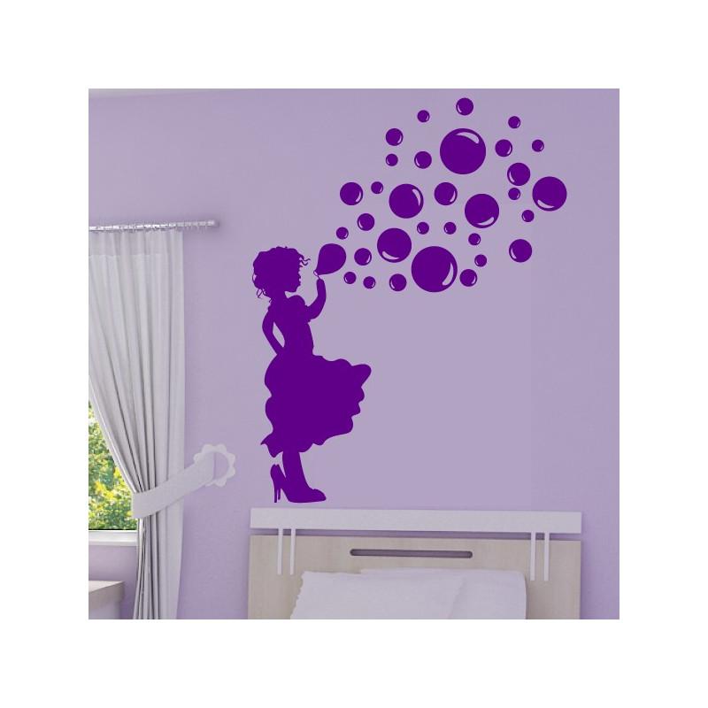 Sticker Silhouette Fillette qui souffle des bulles de savon
