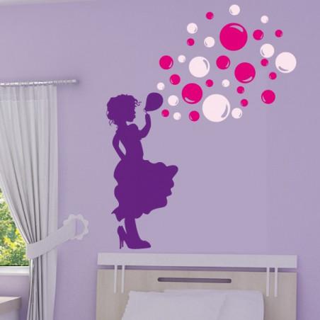 Silhouette Fillette qui souffle des bulles de savon 3 couleurs