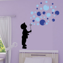 Silhouette Enfant souffleur de bulles de savon 3 couleurs