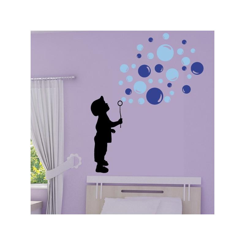 Sticker Silhouette Enfant souffleur de bulles de savon 3 couleurs