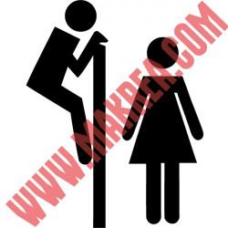 Sticker Abattant WC - Personnages H & F Humoristique Regarde par dessus