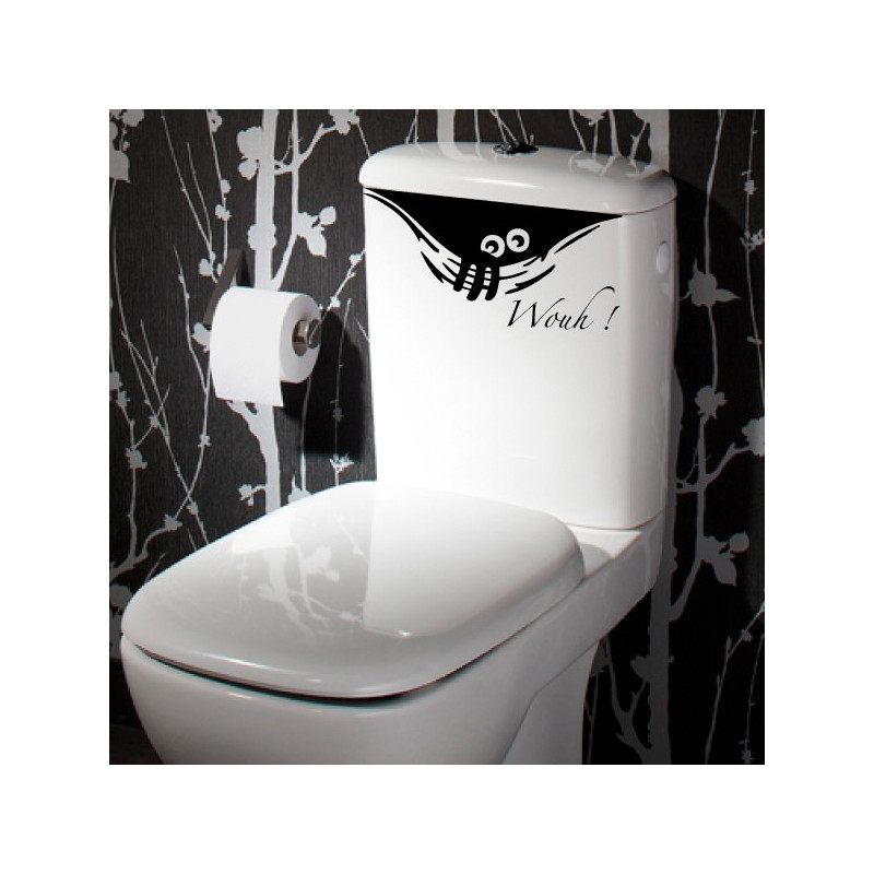 Sticker abattant wc monstre humoristique qui sort de la cuvette - Stickers abattant wc ...