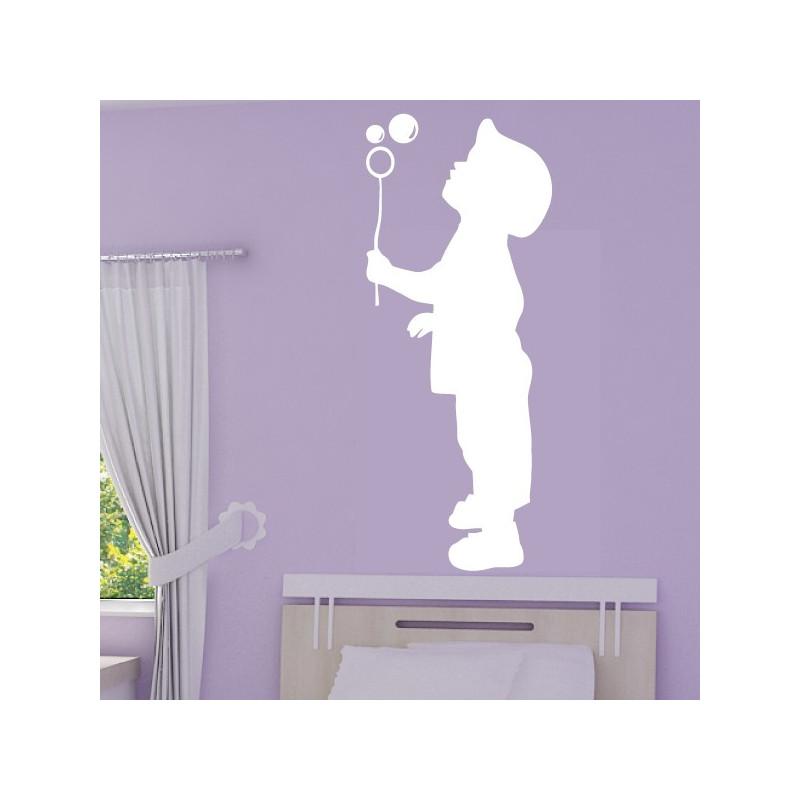 Sticker Silhouette Enfant qui souffle un bulle de savon