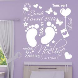Sticker Cadre Naissance - Pieds Bébé - Date - Poids - Prénom ...