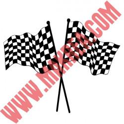 Sticker Formule 1 - Drapeaux Damier Croisés