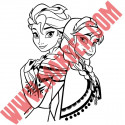 Sticker La Reine des Neiges - Elsa & Anna Dos à Dos