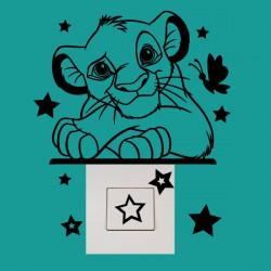 Stickers Interrupteur / Prise Roi Lion Etoiles et Papillon