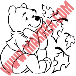 Stickers Interrupteur / Prise Winnie Assis Feuilles