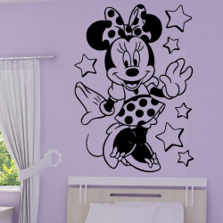 Sticker Minnie Robe Etoiles