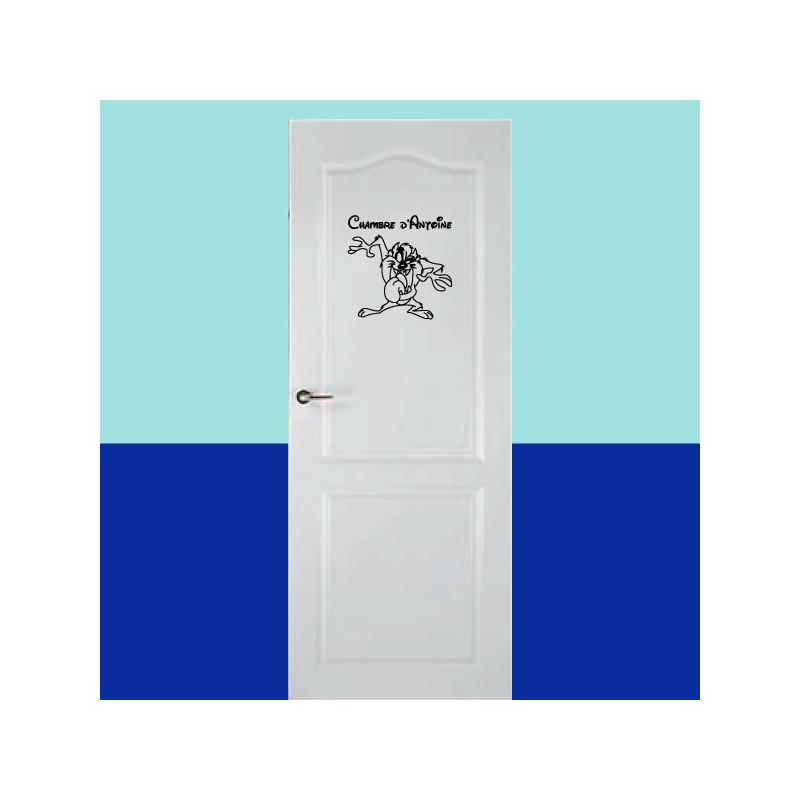 Sticker de porte - Taz + Prénom