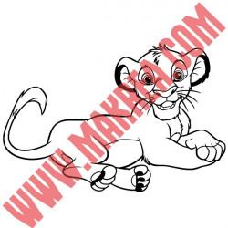Sticker Roi Lion - Lionceau Simba Allongé