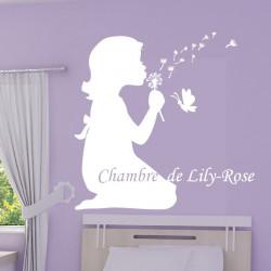 Sticker Silhouette Fillette qui souffle des Pissenlits Papillon