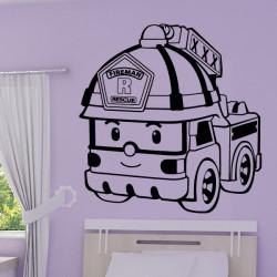 Sticker Robocar Poli - Camion Pompier