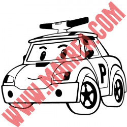 Sticker Robocar Poli - Poli Voiture de police