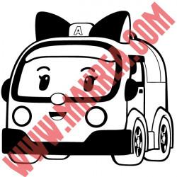Sticker Robocar Poli - Ambre l'Ambulance