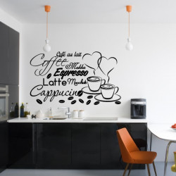Sticker Cuisine - Tasses Café Espresso Cappucino Latte